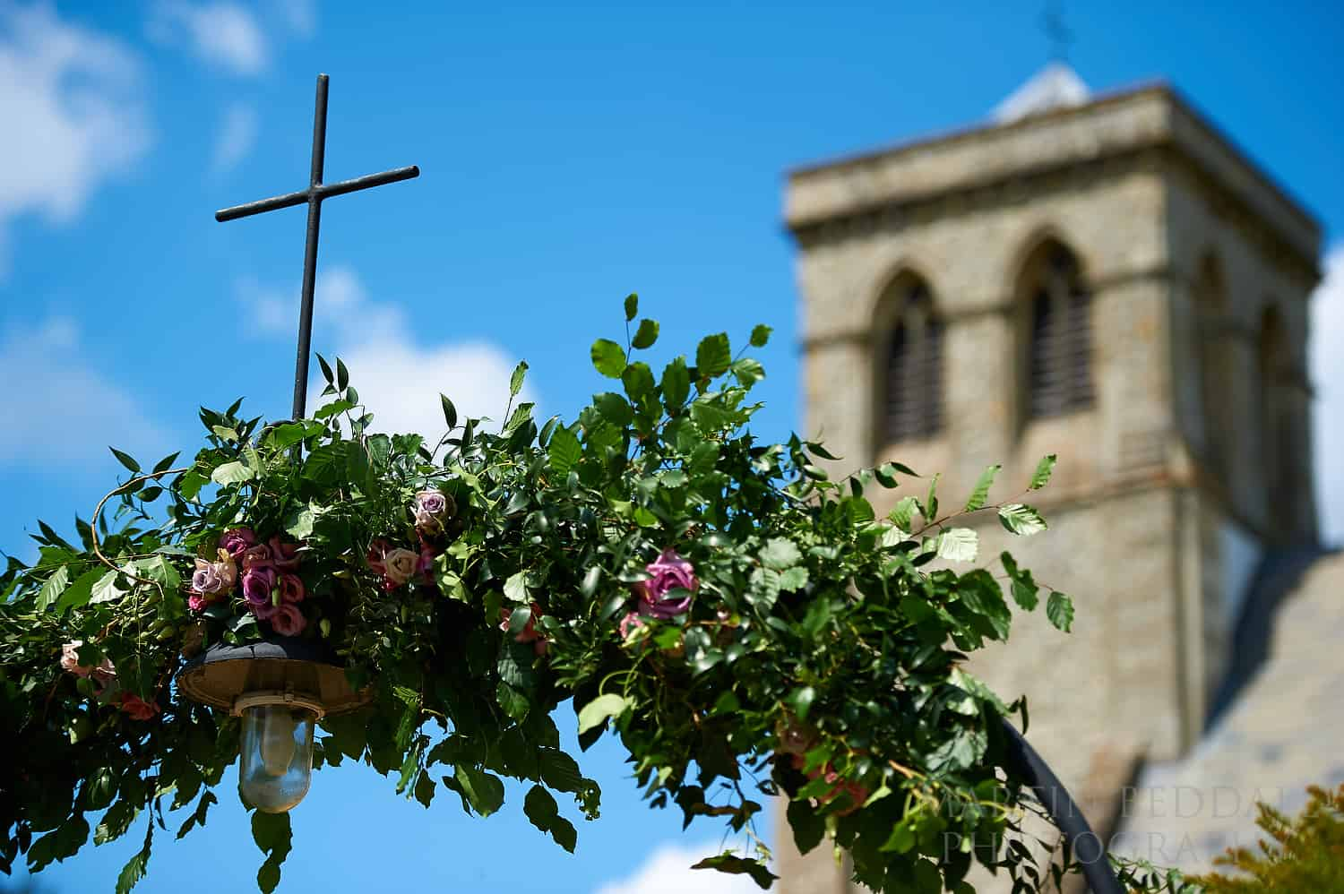 Floral arch at St Andrew's church in Dogmersfield