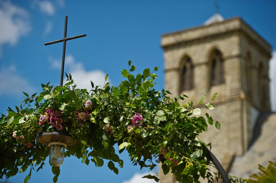 Floral arch at Dogmersfield church in Hampshire