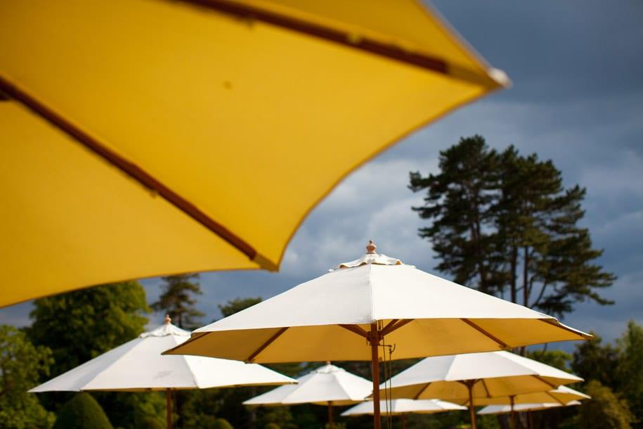 Sun umbrellas at the Elvetham hotel in hampshire