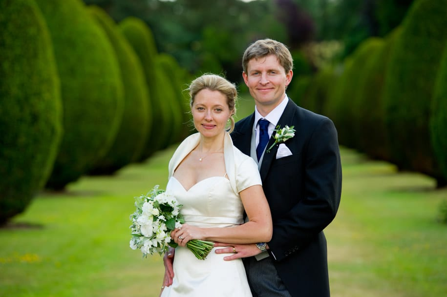 Bride and groom portrait at Elvetham hotel in Hampshire