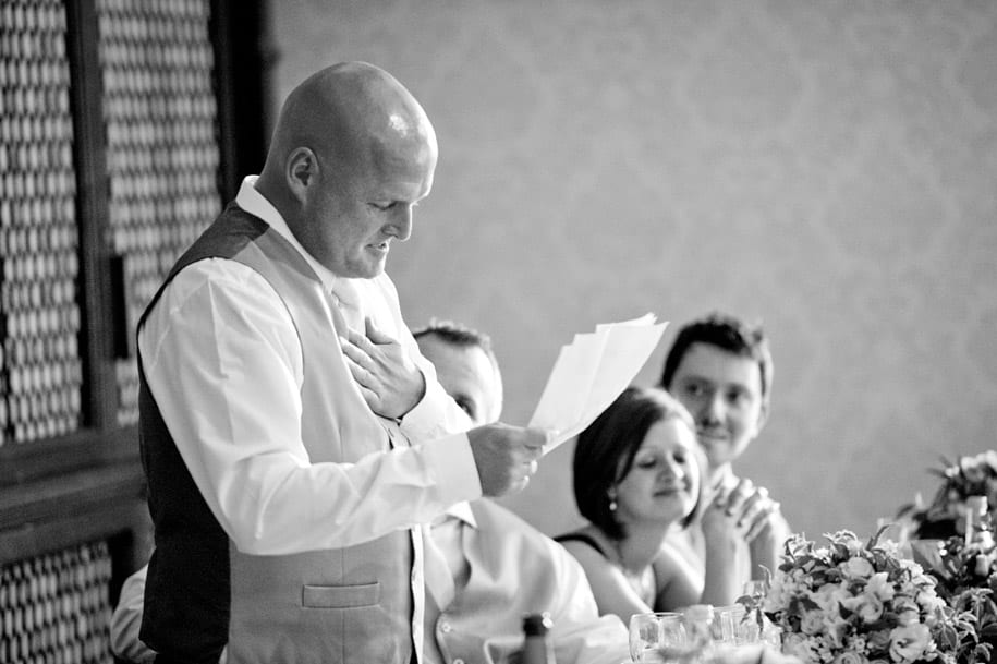 Grrom's brother chokes up as he gives his wedding speech as best man