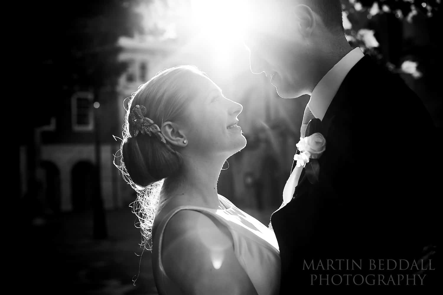 Bride and groom at Inner Temple in the sunshine