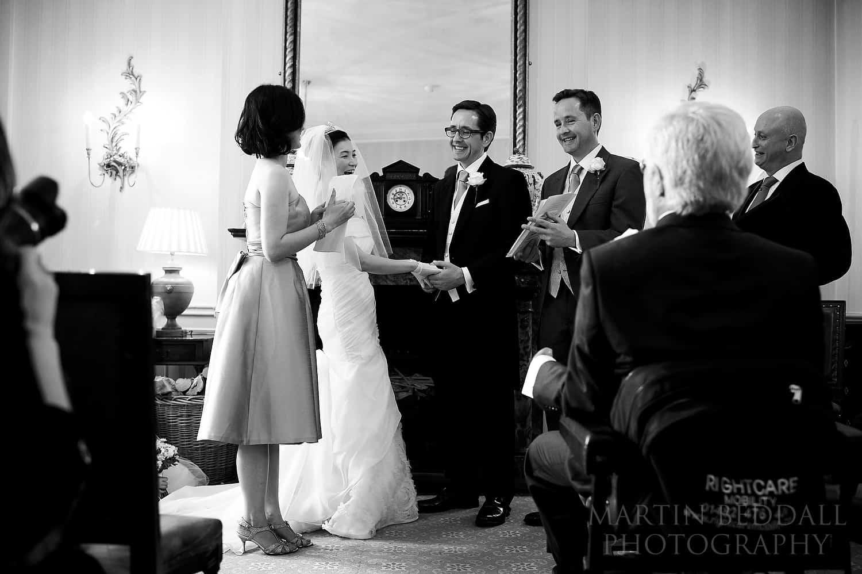 Wedding ceremony at Ockenden Manor