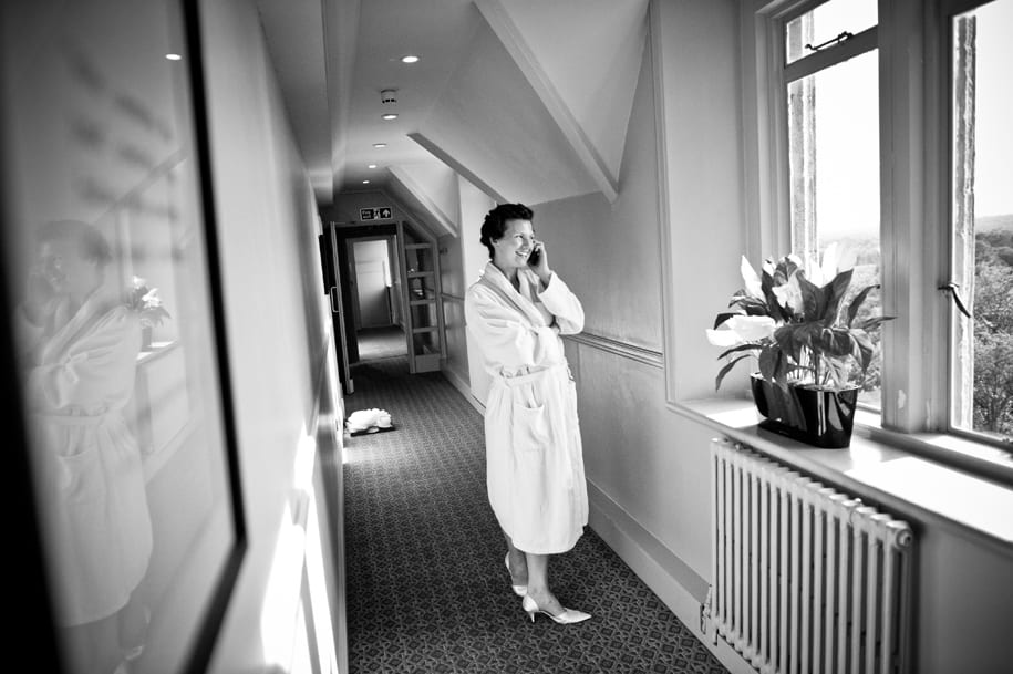 Bride on the phone at Nutfield Priory