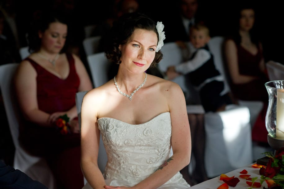 Glamourous bride lit by window light
