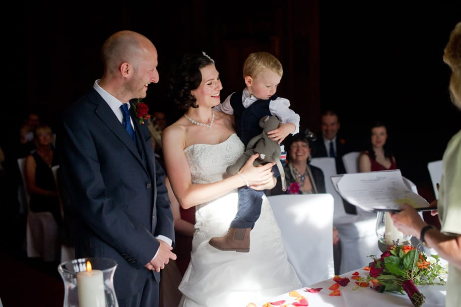 Bride and groom's son joins the ceremony