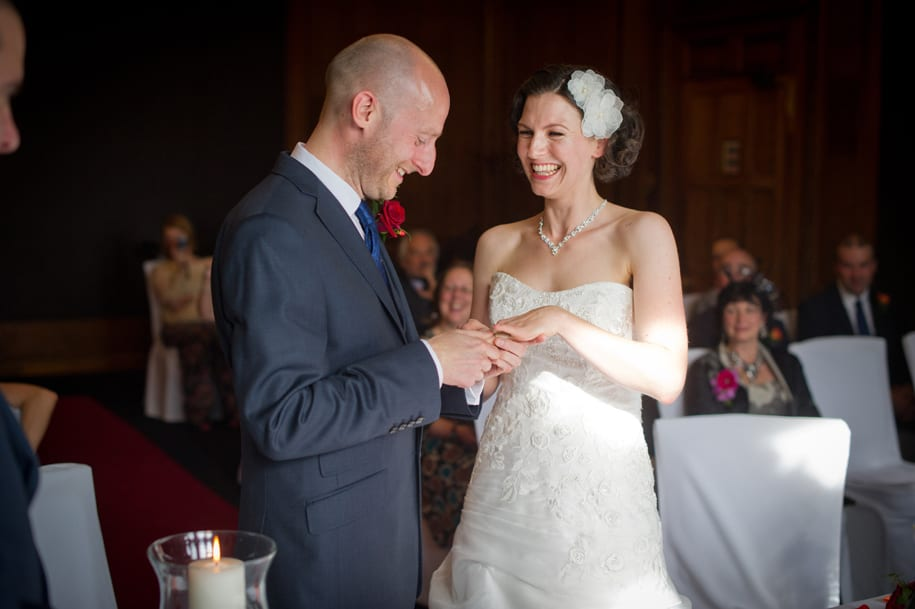 Groom puts wedding ring on bride's finger