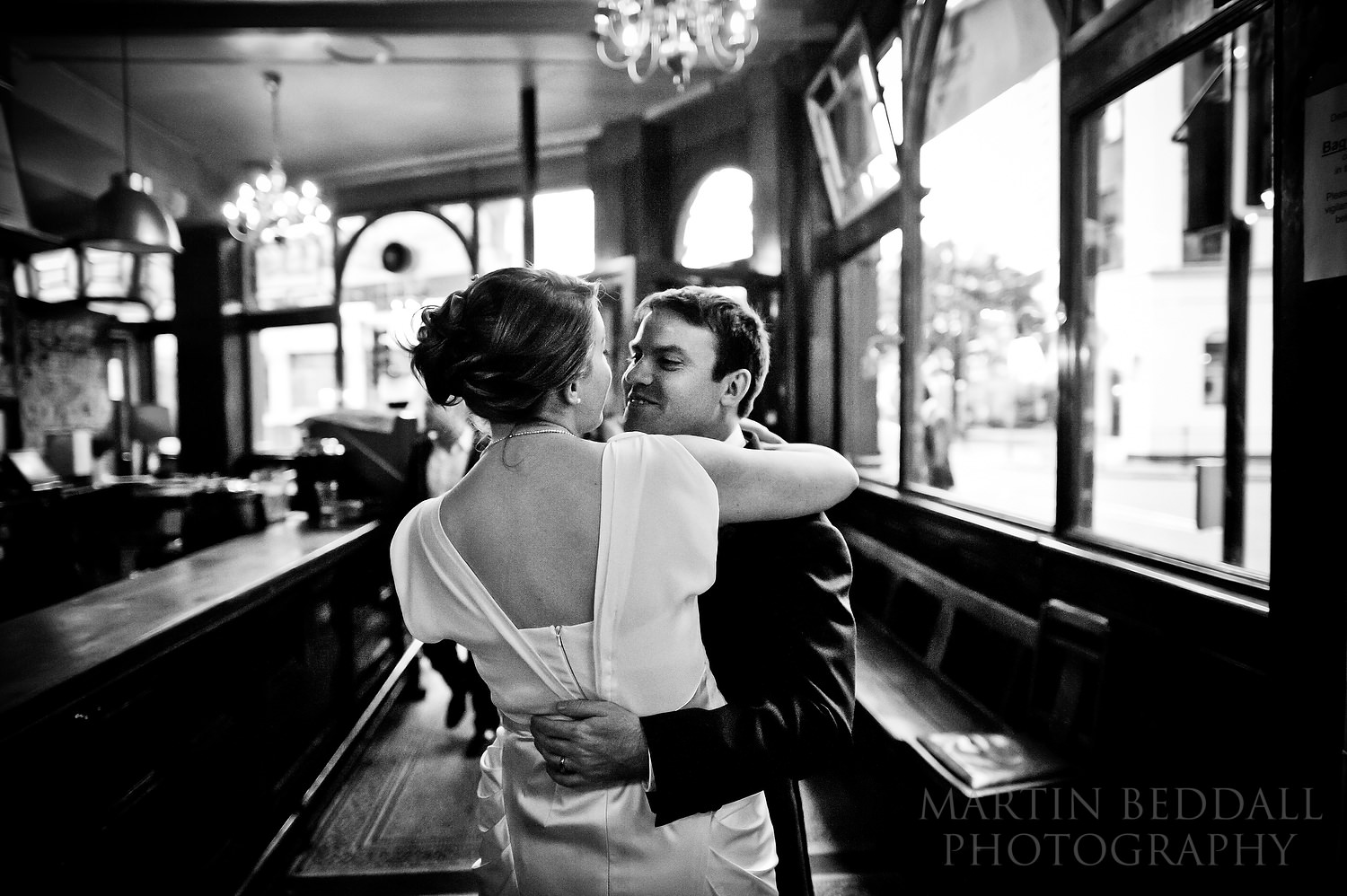 Bride and groom find time alone in the Peasant pub
