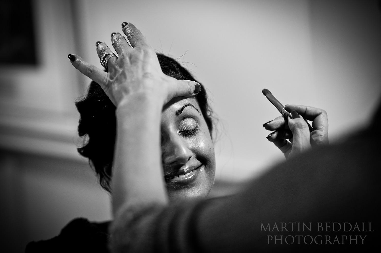 Bridal makeup at Burford Bridge hotel