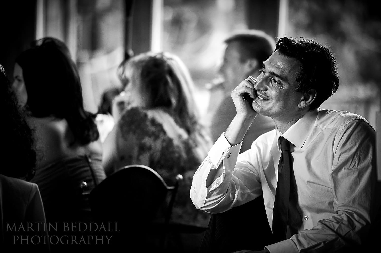 Enjoying the wedding speeches