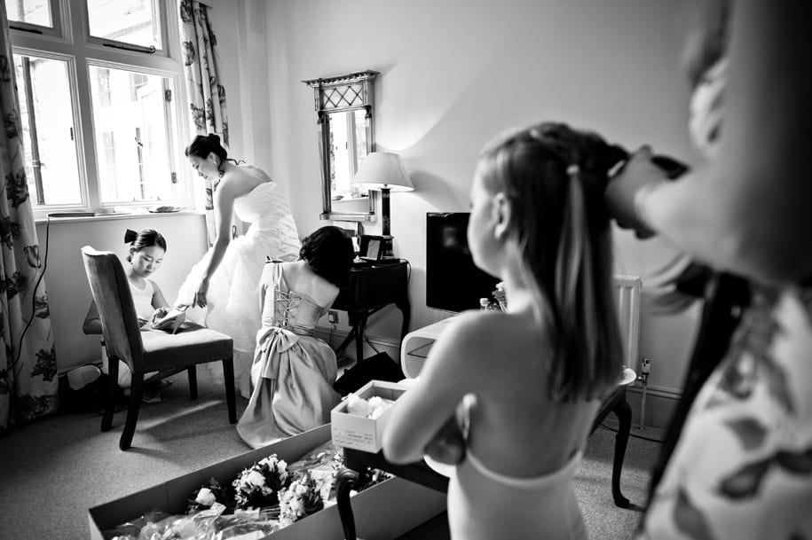 Reportage wedding photography at Ockenden Manor hotel