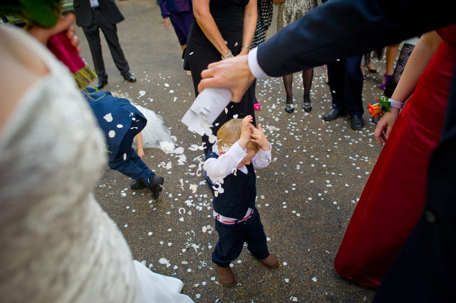 Couple's young son gets covered in confetti