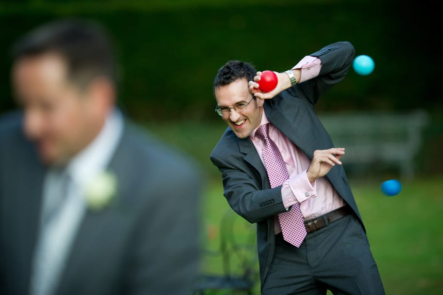 Wedding guest loses ball throwing contest with the children