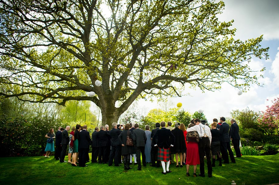 Friends and family gather around the tree for the wedding ceremony