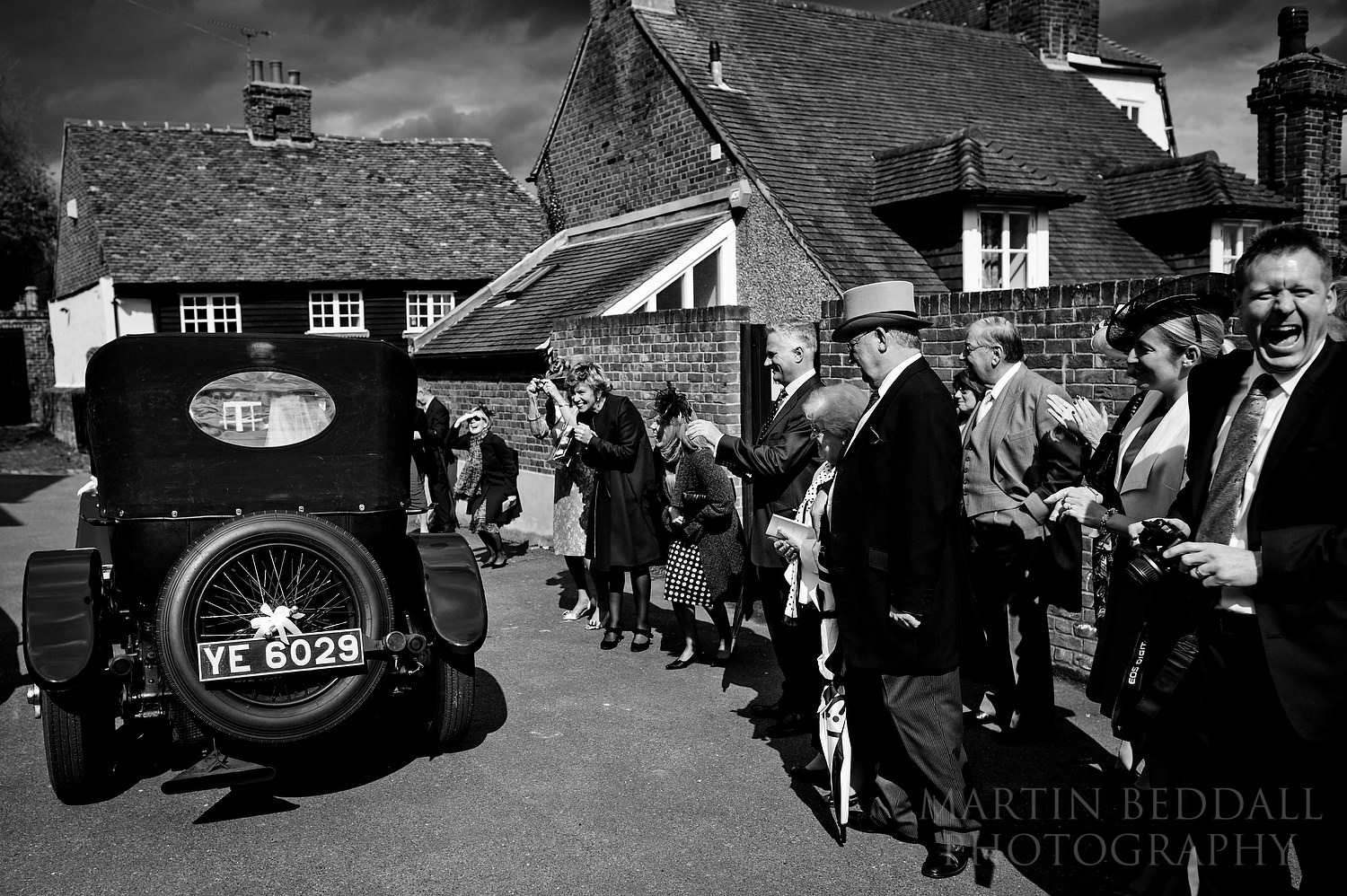 Seeing off the wedding car in Shorne
