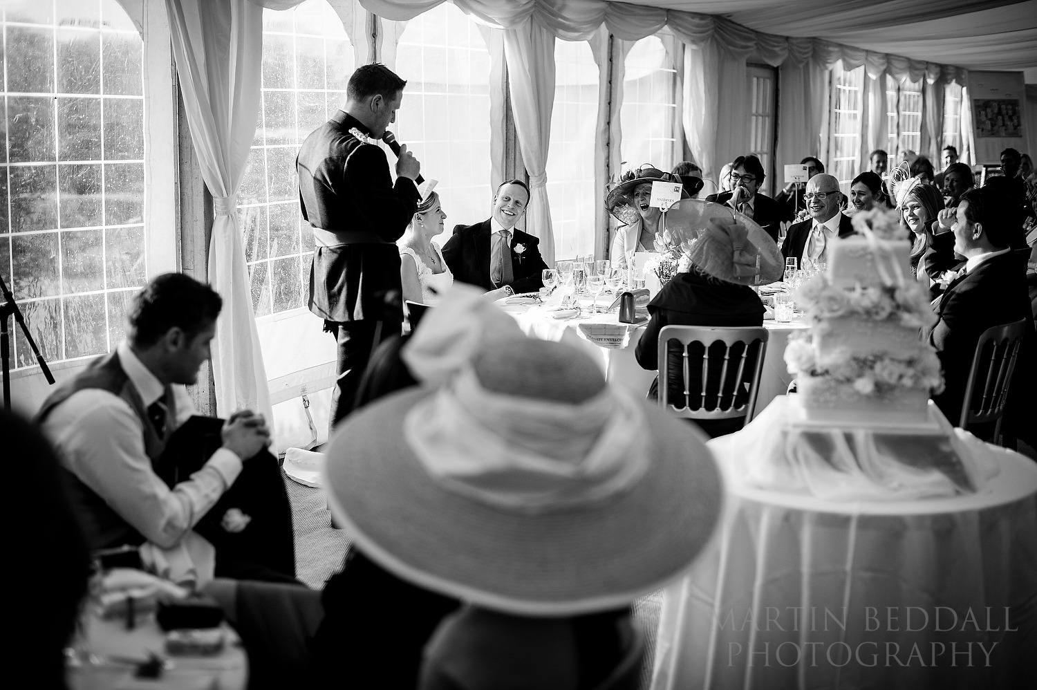 Wedding speeches at kent wedding dinner in a marquee