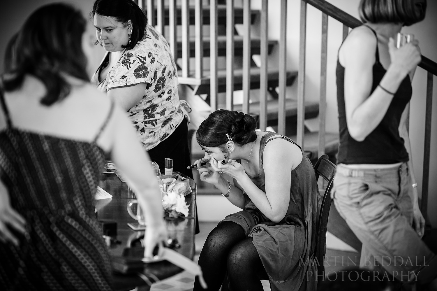 Chaos of getting ready at Sussex wedding