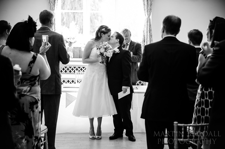 Cuckfield Hall wedding kiss