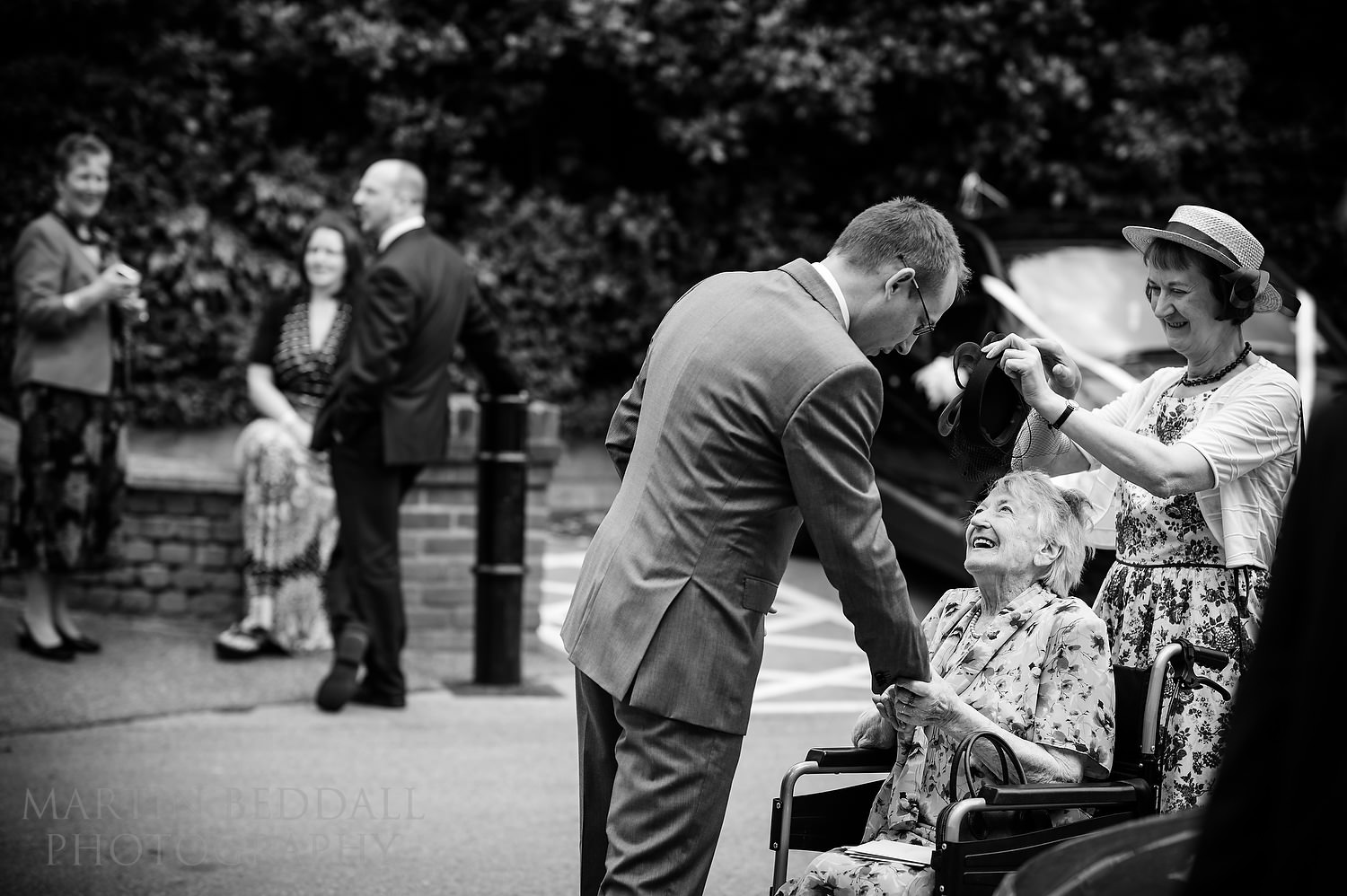 Groom greets relatives
