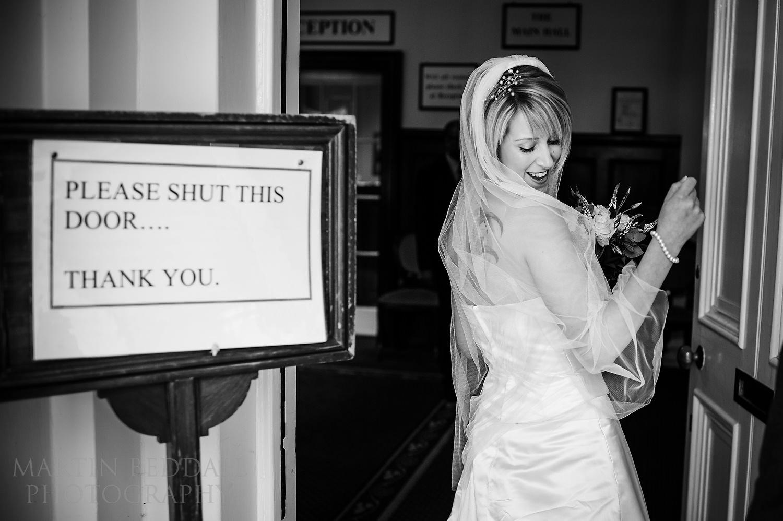 Bride enters the registry office