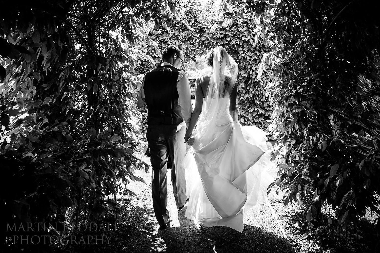Bride and groom leave Leatherhead Registry office