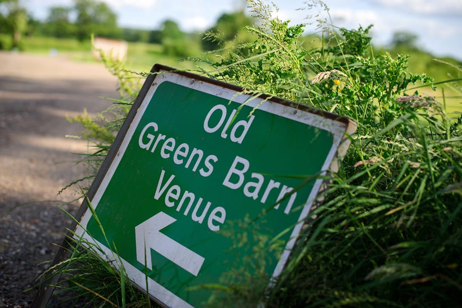 Sign for Old Greens barn