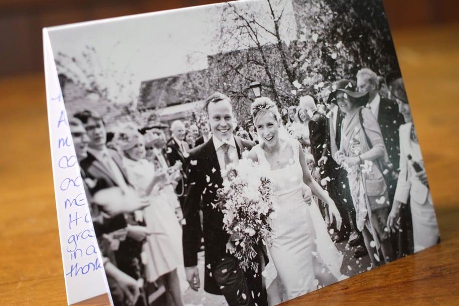 Bride's thank you card