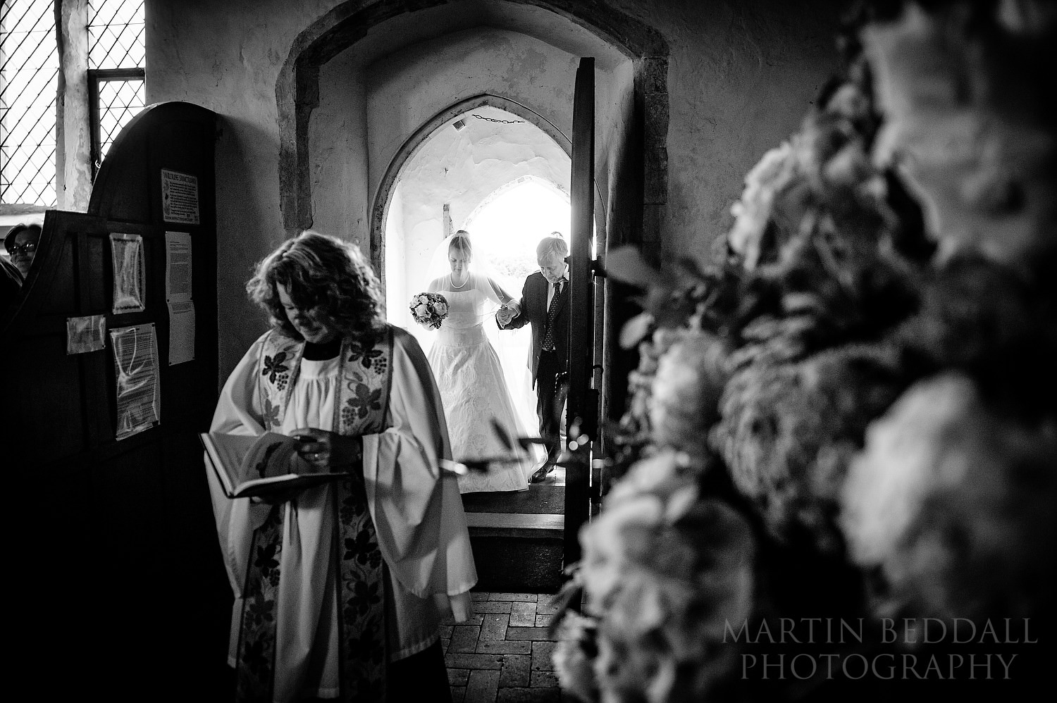 Bride and her father enter Ramsholt church