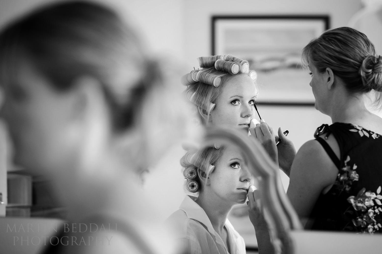 Bride getting ready at Gate Street Barn wedding