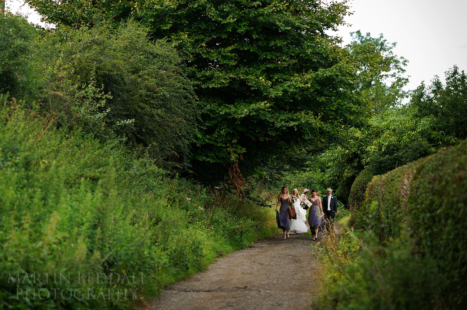 Bride and family walking to the ceremony
