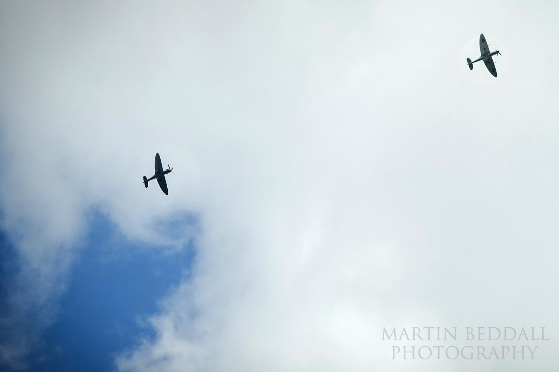 Spitfires fly over Gate Street Barn wedding