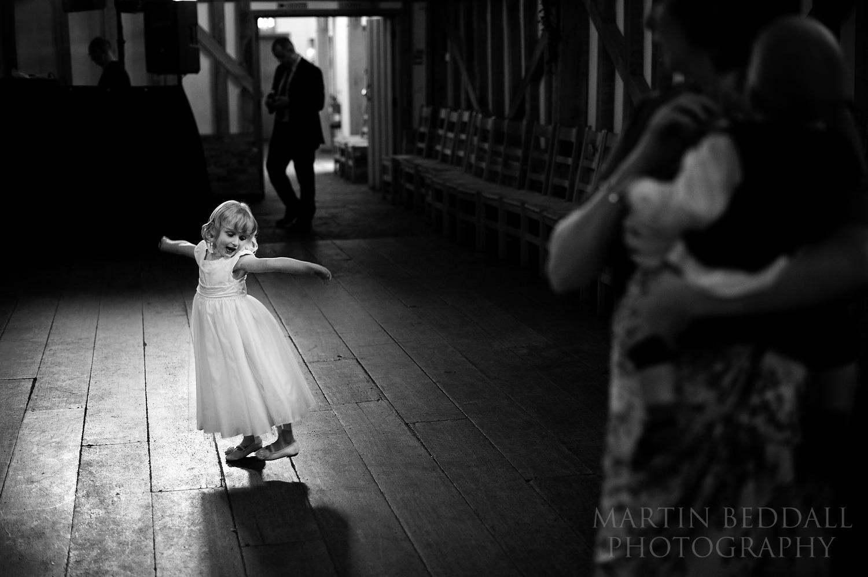 Flower girl on the dance floor