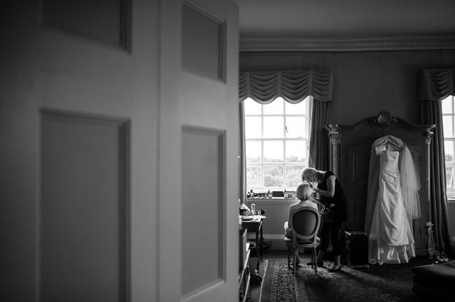 Elegant room at Kirtlington Park for bridal preparations