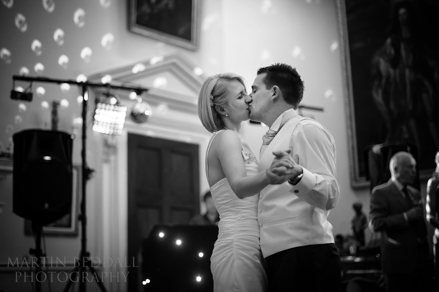Couple's first dance kiss