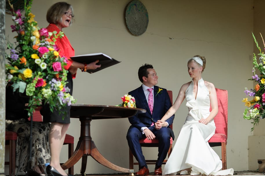 Wedding ceremony in the loggia at Newick Park