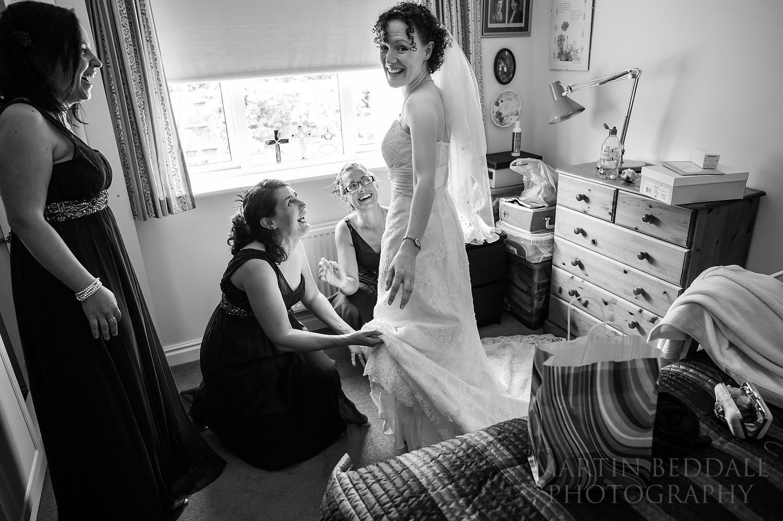 Wedding dress going on