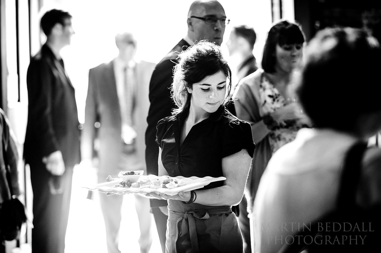 Waitress at Pershore Abbey wedding