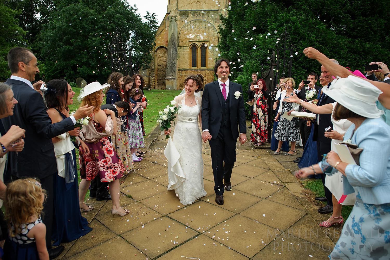 Confetti at Pershore Abbey wedding