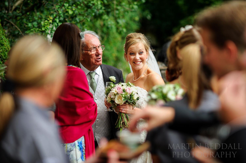 Happy bride at the wedding reception