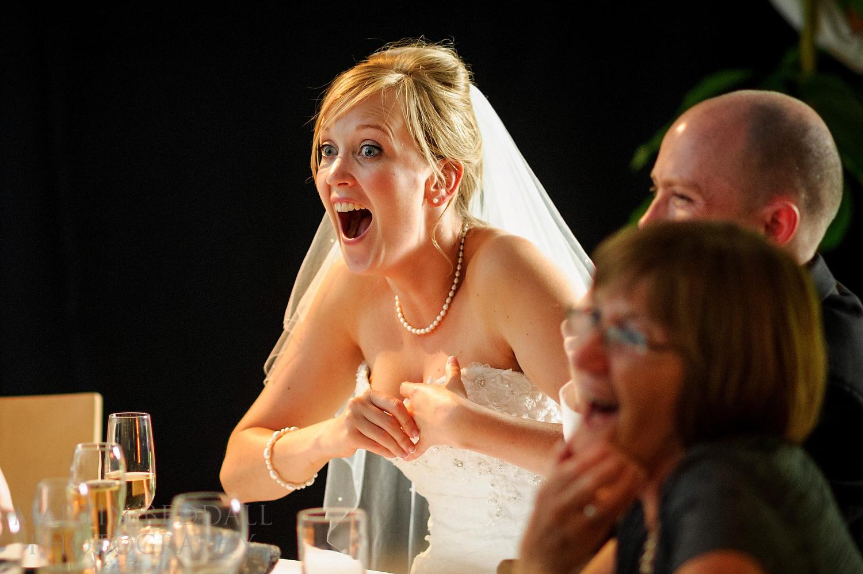 Bride reacts to best man's speech