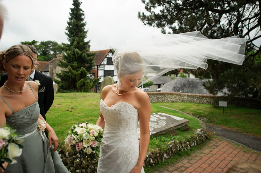 The wind takes up the bridal veil