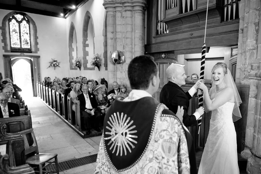 Ringing the church bells in a Sussex wedding