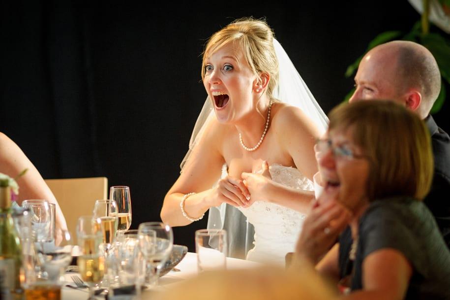 Shocked bride reacts to the best men speech