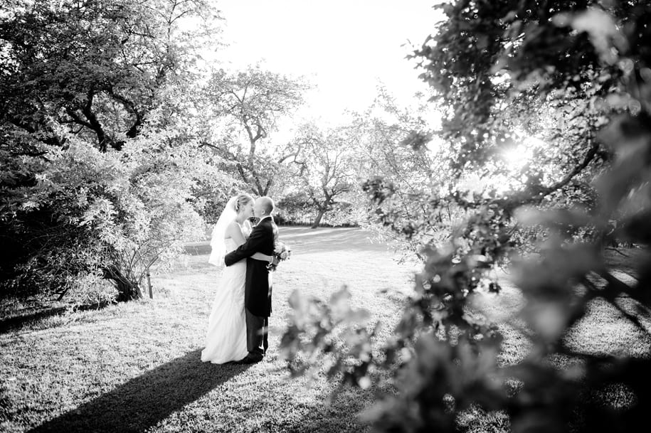 Bride and grrom kiss in the grounds of Ridge Farm