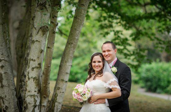 Brdie and groom portrait at Pembroke Lodge