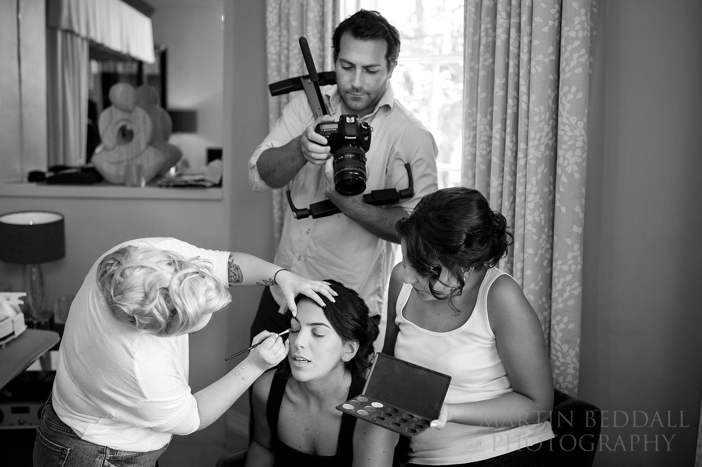 Wedding videographer getting close