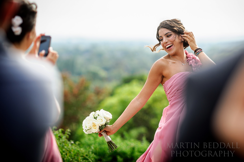 Posing bridesmaid