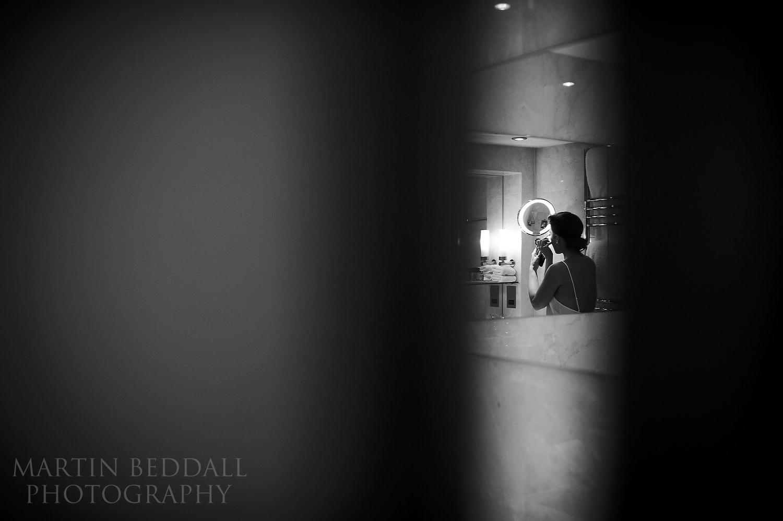 Bride in the bathroom