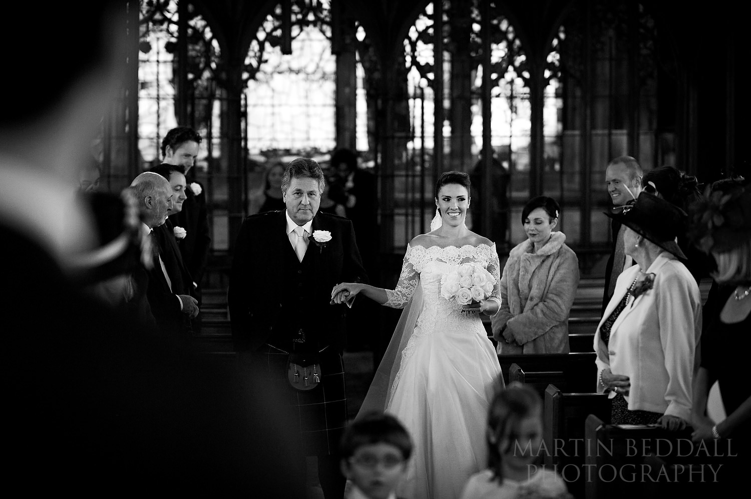 Bride and her father at St Etheldreda's