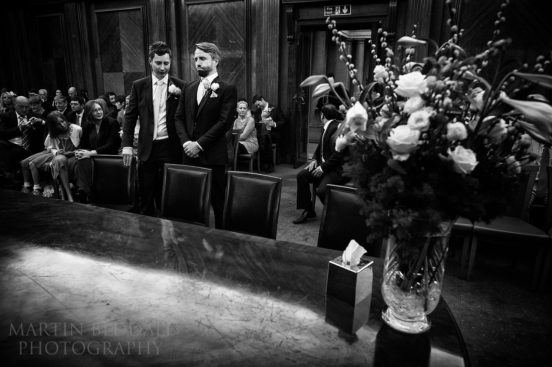 Nervous groom in the Westminster Room